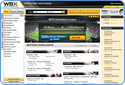 WBX Sports Betting Exchange home-page view