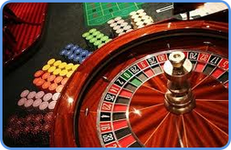 Roulette wheel table and casino chips picture png