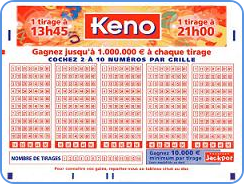 French Keno - blank playslip coupon