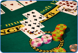 Blackjack cards in Las Vegas casino