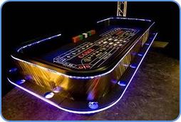 Monte Carlo casino table in Las Vegas, including poker game.