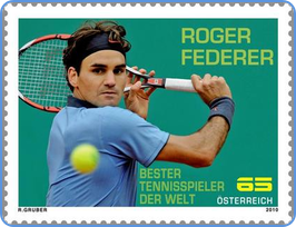 Tennis player Roger Federer on Austrian postage stamp