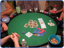 Playing stud poker at home meeting