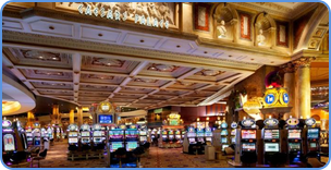 Traditional slots machines at Caesars Palace Casino in Las Vegas