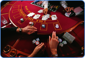 Playing blackjack at traditional casino