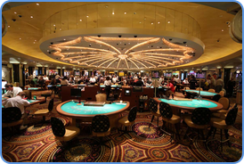 Blackjack tables at Caesars Palace Casino in Las Vegas